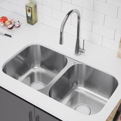 33 x 18 Double Bowl Undermount Kitchen Sink