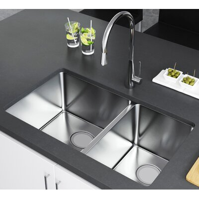 33 x 20 Double Bowl Undermount Kitchen Sink