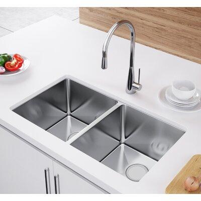 33 x 20 Double Bowl Undermount Kitchen Sink