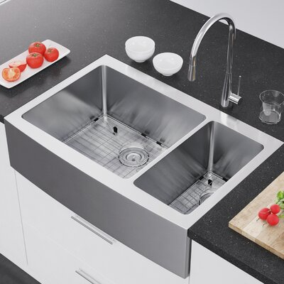 36 x 22 Double Bowl Farmhouse Kitchen Sink with Strainer and Grid