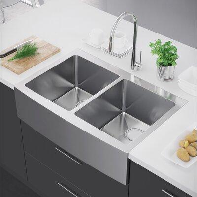 32.88 x 22 Double Bowl Farmhouse Kitchen Sink