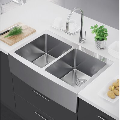 33 x 22 Double Bowl Farmhouse Kitchen Sink with Strainer