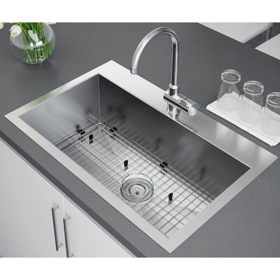 33 x 22 Drop-In Kitchen Sink with Strainer and Grid