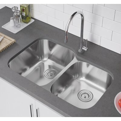 32 x 21 Double Bowl Undermount Kitchen Sink with Strainer