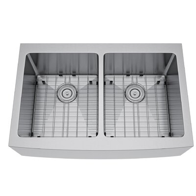33 x 22 Double Bowl Farmhouse Kitchen Sink with Strainer and Grid