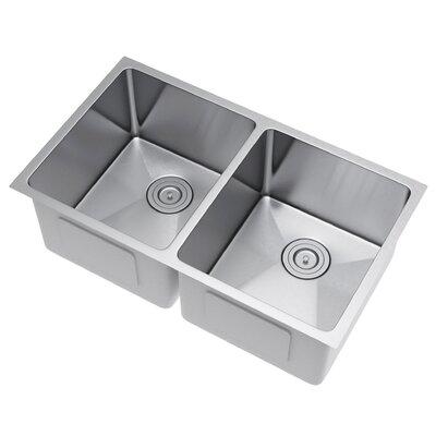33 x 20 Double Bowl Undermount Kitchen Sink with Strainer