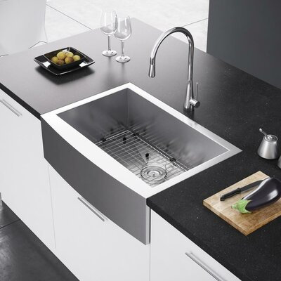 29.88 x 21 Farmhouse Kitchen Sink with Strainer and Grid