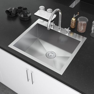 25 x 22 Drop-In Kitchen Sink with Strainer