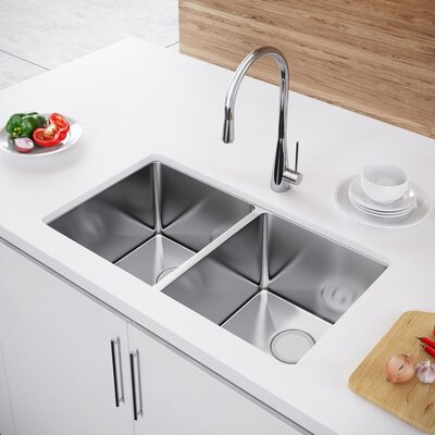 31 x 18 Double Bowl Undermount Kitchen Sink