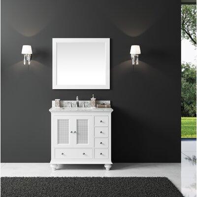 Larry 36 Single Bathroom Vanity Set with Mirror Base Finish: White