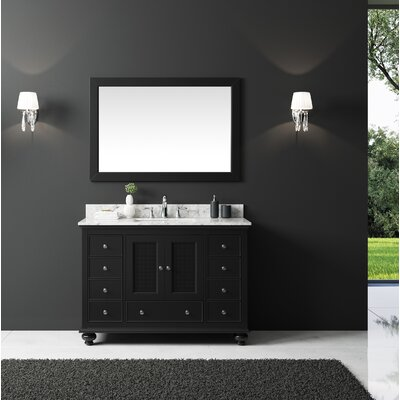 Larry 48 Single Bathroom Vanity Set with Mirror Base Finish: Espresso