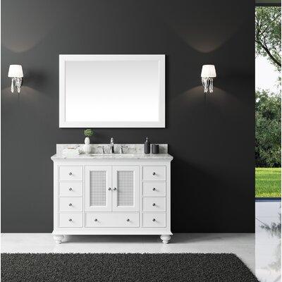 Larry 48 Single Bathroom Vanity Set with Mirror Base Finish: White