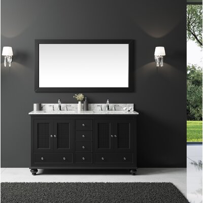Larry 60 Double Bathroom Vanity Set with Mirror Base Finish: Espresso