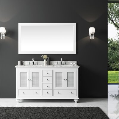 Larry 60 Double Bathroom Vanity Set with Mirror Base Finish: White