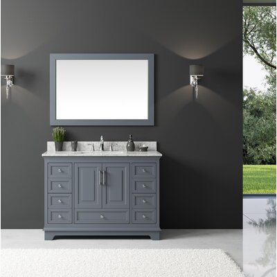 Orin 48 Single Bathroom Vanity Set with Mirror Base Finish: Cashmere Gray