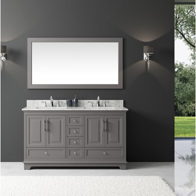 Orin 60 Double Bathroom Vanity Set with Mirror Base Finish: Taupe Gray