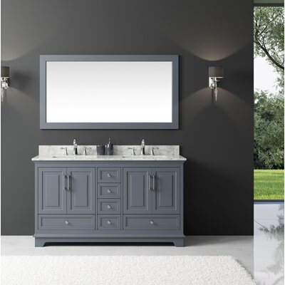 Orin 60 Double Bathroom Vanity Set with Mirror Base Finish: Cashmere Gray