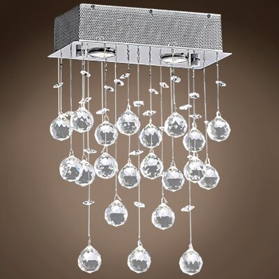 Drops of Rain 2-Light Crystal Pendant Crystal: Clear Asfour, Bulb Type: GU10