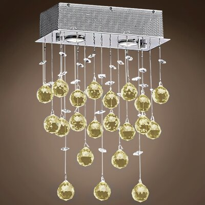 Drops of Rain 2-Light Crystal Pendant Crystal: Cognac European, Bulb Type: GU10 LED