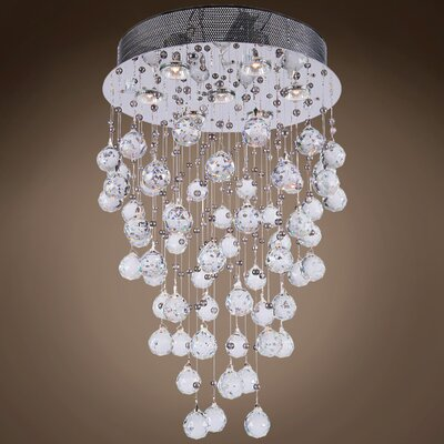 Drops of Rain 7-Light Cascade Pendant Finish: Clear Swarovski, Bulb Type: GU10 LED
