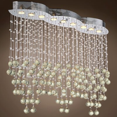 Drops of Rain 9-Light Crystal Pendant Crystal: Golden Teak European