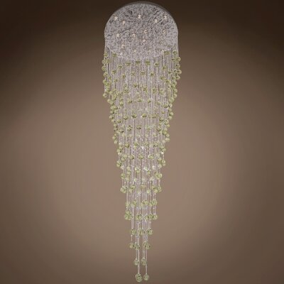 Drops of Rain 16-Light Crystal Pendant Crystal: Golden Teak European, Bulb Type: GU10 LED