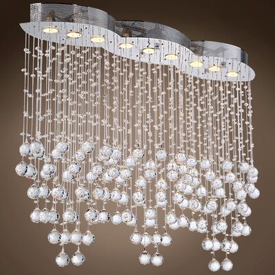 Drops of Rain 9-Light Crystal Pendant Crystal: Clear European