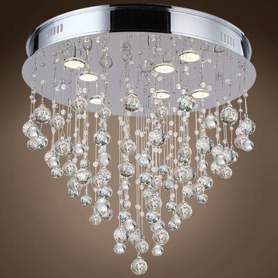 Drops of Rain 7-Light Flush Mount Finish: Clear Asfour, Bulb Type: GU10