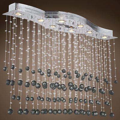 Drops of Rain 8-Light Crystal Pendant Crystal: Black European, Bulb Type: GU10 LED