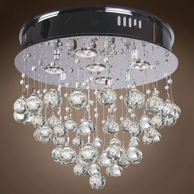 Drops of Rain 5-Light Flush Mount Finish: Clear Asfour, Bulb Type: GU10 LED