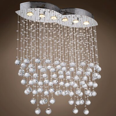 Drops of Rain 6-Light Crystal Pendant Crystal: Clear Asfour, Bulb Type: GU10
