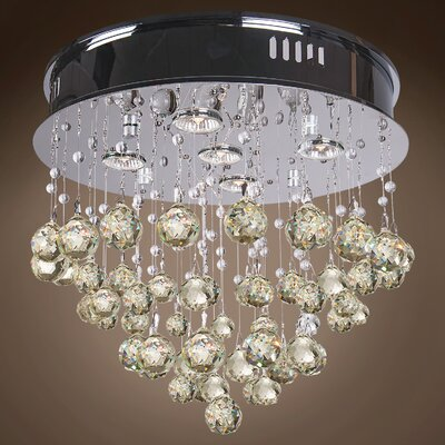 Drops of Rain 5-Light Flush Mount Finish: Golden Teak European, Bulb Type: GU10 LED
