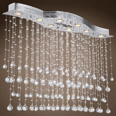 Drops of Rain 8-Light Crystal Pendant Crystal: Clear European, Bulb Type: GU10 LED