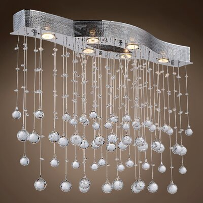 Drops of Rain 6-Light Crystal Pendant Crystal: Clear Asfour, Bulb Type: GU10 LED