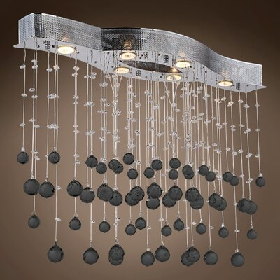 Drops of Rain 6-Light Crystal Pendant Crystal: Black European, Bulb Type: GU10