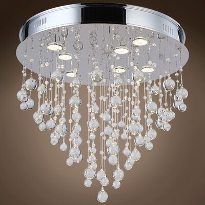 Drops of Rain 7-Light Flush Mount Finish: Clear Murano Glass, Bulb Type: GU10 LED