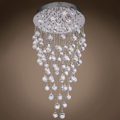 Drops of Rain 9-Light Flush Mount Finish: Clear Swarovski, Bulb Type: GU10 LED