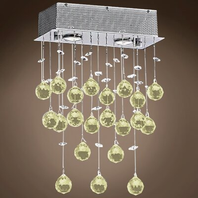 Drops of Rain 2-Light Crystal Pendant Crystal: Golden Teak European, Bulb Type: GU10 LED