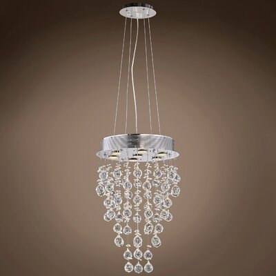 Drops of Rain 7-Light Crystal Pendant Crystal: Clear Asfour