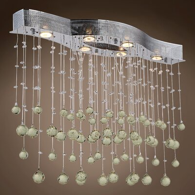 Drops of Rain 6-Light Crystal Pendant Crystal: Golden Teak European, Bulb Type: GU10 LED
