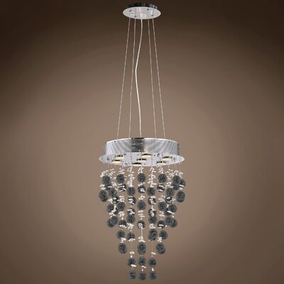 Drops of Rain 7-Light Crystal Pendant Crystal: Smoke European