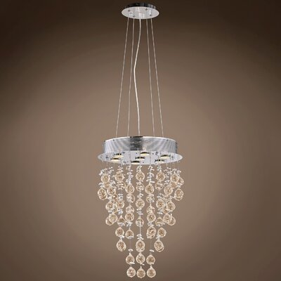 Drops of Rain 7-Light Crystal Pendant Crystal: Cognac European
