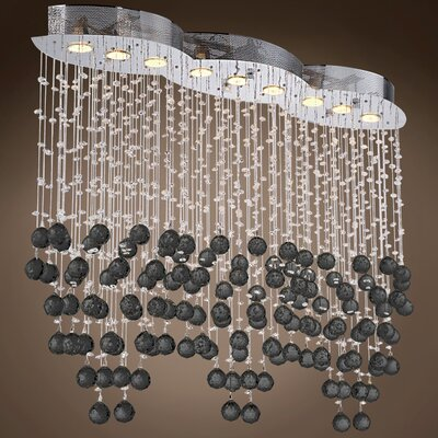 Drops of Rain 9-Light Crystal Pendant Crystal: Black European