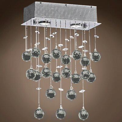 Drops of Rain 2-Light Crystal Pendant Crystal: Smoke European, Bulb Type: GU10 LED