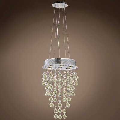 Drops of Rain 7-Light Crystal Pendant Crystal: Golden Teak European