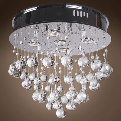 Drops of Rain 5-Light Flush Mount Finish: Clear Murano Glass, Bulb Type: GU10