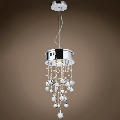 Drops of Rain 1-Light Crystal Pendant Crystal: Clear Murano Glass, Bulb Type: GU10 LED