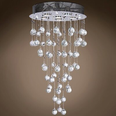 Drops of Rain 6-Light Flush Mount Finish: Clear European, Bulb Type: GU10
