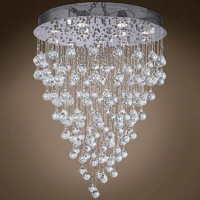 Drops of Rain 12-Light Cascade Pendant Finish: Clear Asfour, Bulb Type: GU10 LED