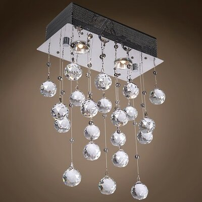 Drops of Rain 2-Light Cascade Pendant Finish: Clear Swarovski, Bulb Type: GU10